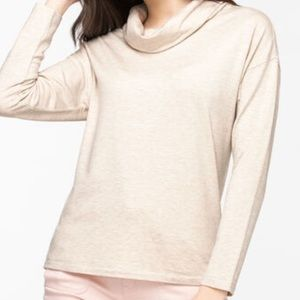 Oatmeal Cowl Neck Knit Top